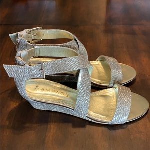 Gold Strappy Wedge Sandal w/ wrap ankle. Size 7.5.